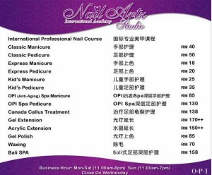 Nail saloon price list