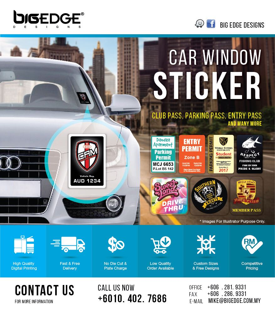 Car window stickers printing
