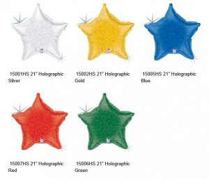 betallic holographic microfoil stars balloons