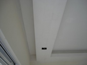 plaster ceiling with curtain rail box