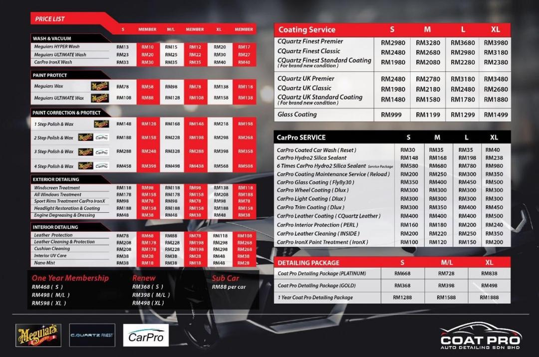 Car Detailing Prices >> Coat Pro Auto Detailing | Car Coating | Meguiars Polish ...